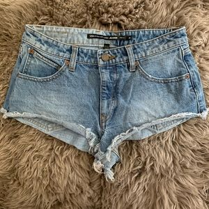 VOLCOM distressed denim shorts, SZ 26